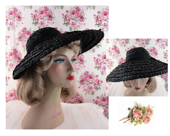 Vintage 1930s 30s Straw Picture Hat Vintage 30s C… - image 1