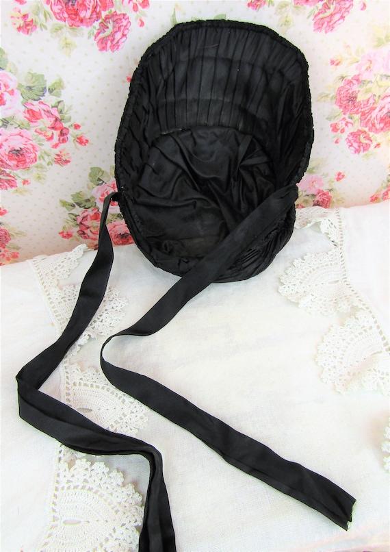 Antique Mourning Bonnet Antique Civil War Era Bon… - image 10