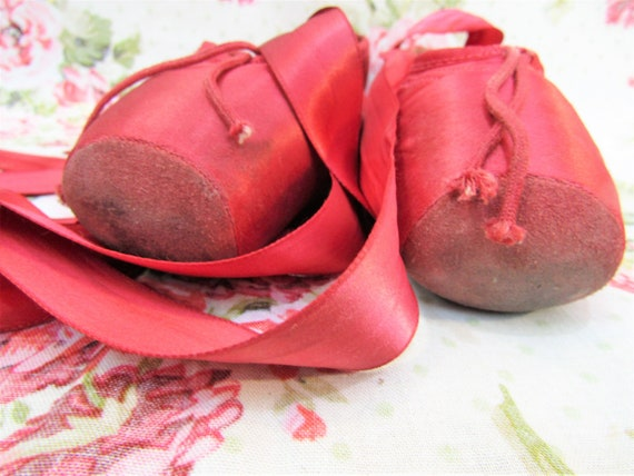 Vintage Ballet Shoes Vintage Red Satin Ballet Sho… - image 10