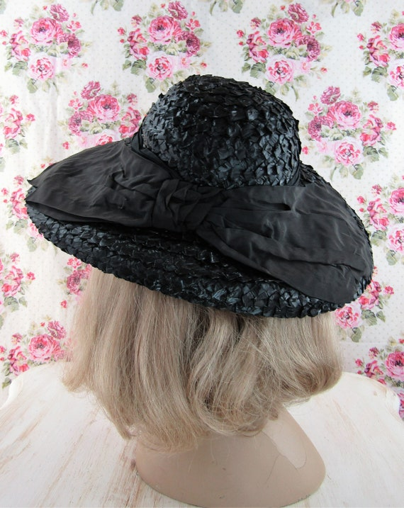 Vintage 1930s 30s Straw Picture Hat Vintage 30s C… - image 8
