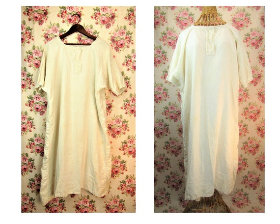 French Antique Rustic Nightgown 19th Century Chemi