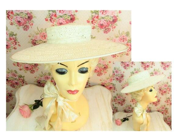 Vintage 1930s Wide Brim Straw Hat Most Vintage 19… - image 1