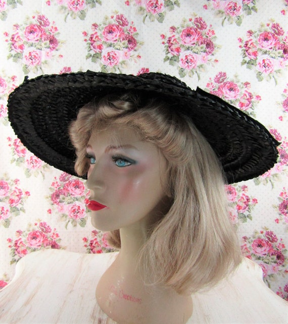 Vintage 1930s 30s Straw Picture Hat Vintage 30s C… - image 6