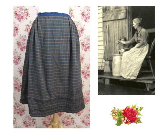 Antique 1800's Plaid Flannel Skirt Size M Authenti