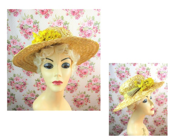 Vintage 1940's Flowered Straw Hat Size Small 19.5