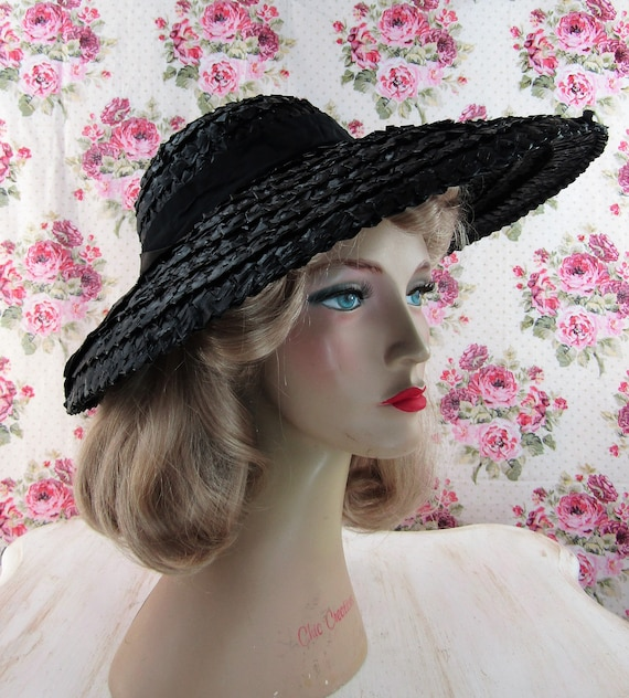 Vintage 1930s 30s Straw Picture Hat Vintage 30s C… - image 2
