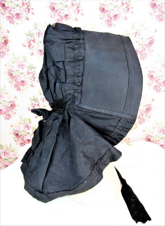 Antique 1800s Black Mourning Bonnet Antique Black… - image 4
