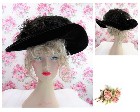Antique Edwardian Hat 1906 Merry Widow Hat Authent