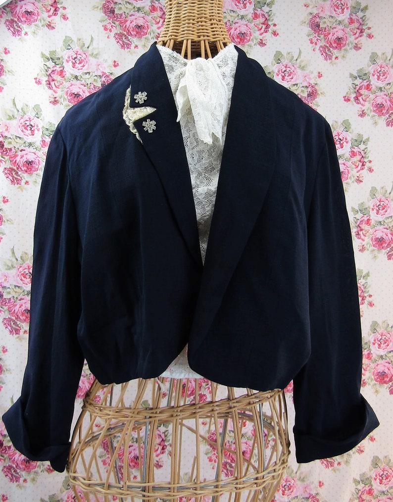 1940s Blazer Size 10 US Vintage 40s Jacket Navy Blue with Rhinestones