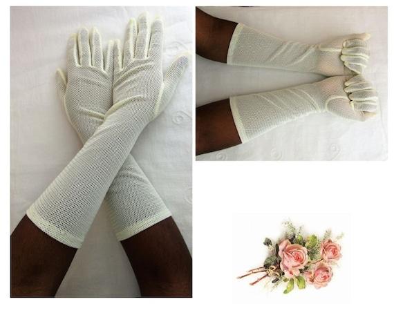Long Vintage Gloves Size 6-8 Formal Mesh Gloves Me