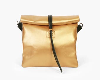 Chandler King - Handmade Leather Bag  / Gold Handbag / Gold Lunch Bag / Gold Clutch / Gold Crossbody Bag