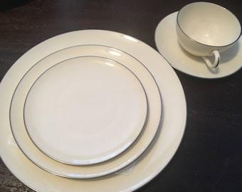 4 Sets of Olympia Platinum Lenox Dinnerware / 5 Piece Place Settings
