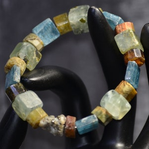 Handmade natural semiprecious gemstone agate tourmaline bracelet accessories unique stylish modern jewelry collection special gift for her