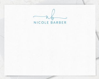 Monogrammed Note Cards Set, Custom Stationery with 2 Letter Monogram and Full Name, Boxed Set of 10, Choice of Ink and Envelope Colors