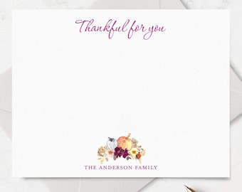 Thanksgiving Cards, Family Thanksgiving Note Cards, Pumpkin Note Cards, Thankful Note Cards and Envelope Stationery, Thankful Cards