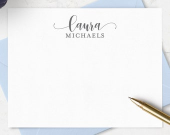 Personalized Note Cards Stationery Set - Boxed Stationery with Envelopes in Choice of Colors - Set of 10 Flat A2 Thank You Notes with Name