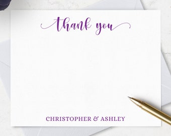Personalized Thank You Cards & Envelopes, Boxed Set of 10 Thank You Flat Note Cards, Personalized with Names, Choose Ink and Envelope Colors