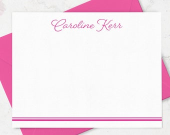 Personalized Note Cards & Envelope Stationery Set, Custom Notecards and Envelopes, Boxed Set of Flat A2 Notes in Choice of Colors