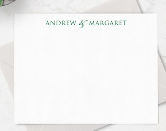 Personalized Note Cards & Envelope Stationery Set for Couples, Boxed Set of 10 Flat A2 Cards in Choice of Colors