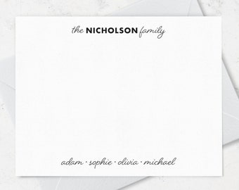 Family Note Cards and Envelopes Stationery Set, Personalized with Family and Individual Names, Choose your Ink and Envelope Colors