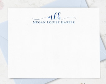 Monogram Note Cards and Envelope Stationary Set for Ladies, Monogrammed Stationery with Name, Set of 10 Note Cards in choice of Colors