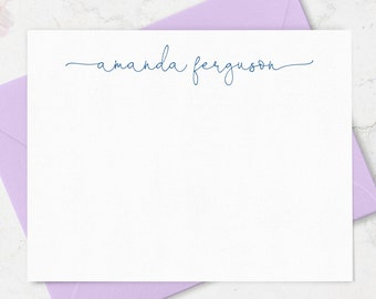 Personalized Script Name Note Cards with Envelopes, Set of 10 Personalized Stationary Thank you Cards, Custom Notecard Stationery for Ladies