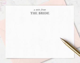 Note Cards for Bride To Be, Bridal Stationery Set,  Bridal Shower Gift, Boxed Set of Bride Notecards, Choose Your Colors & Set Size