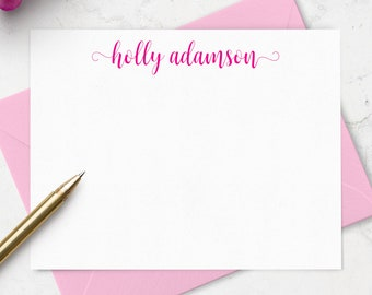 Personalized Note Cards & Envelope Set, Custom Stationery with Name in Choice of Colors - Set of 10