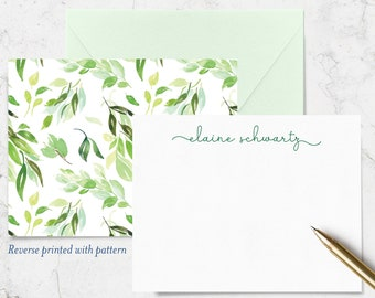 Set of 10 Cards with Envelopes Blush Pink Floral Double Sided Note Cards with Name on Front and Watercolor Pattern on Reverse