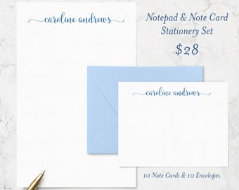 Personalized Stationery Set with 10 Note Cards + 10 Envelopes + 50 Page Notepad, Personalized Stationary Writing Set, Custom Stationery Gift