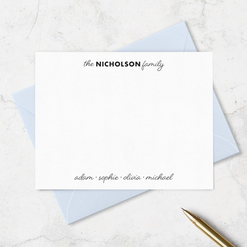 Personalized with Family and Individual Names Choose your Ink and Envelope Colors Family Note Cards and Envelopes Stationery Set