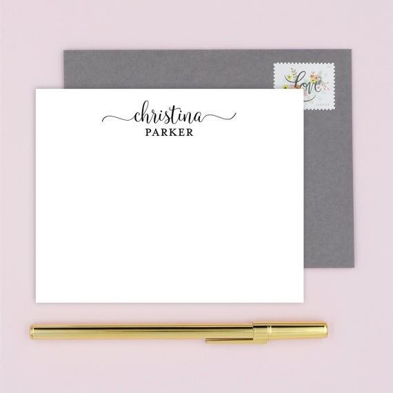 Personalized Note Cards with Name in Calligraphy Script, Boxed Custom Stationery Set with 10 Flat Notecards and Envelopes, Choose Colors