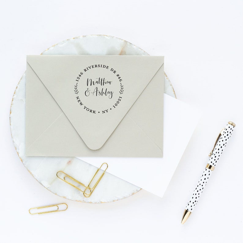 Return Address Stamp Round with Leaves and Calligraphy Font Custom Wreath Self Inking or Wooden Stamp with Handle Housewarming Gift