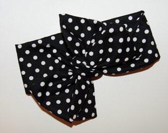 Black Polka Dot Headwrap