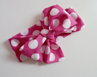 Pink Polka Dot Headwrap