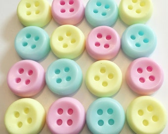 Cute as a button - BUTTON SOAPS - baby shower favours - Pink Blue Yellow BULK