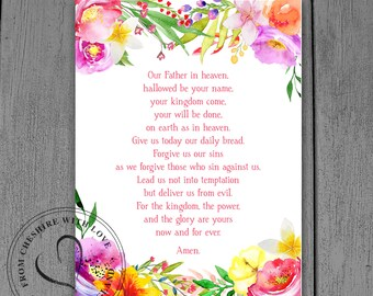 Our Father Prayer PRINT  Floral Christian Home Decor Print  | Etsy
