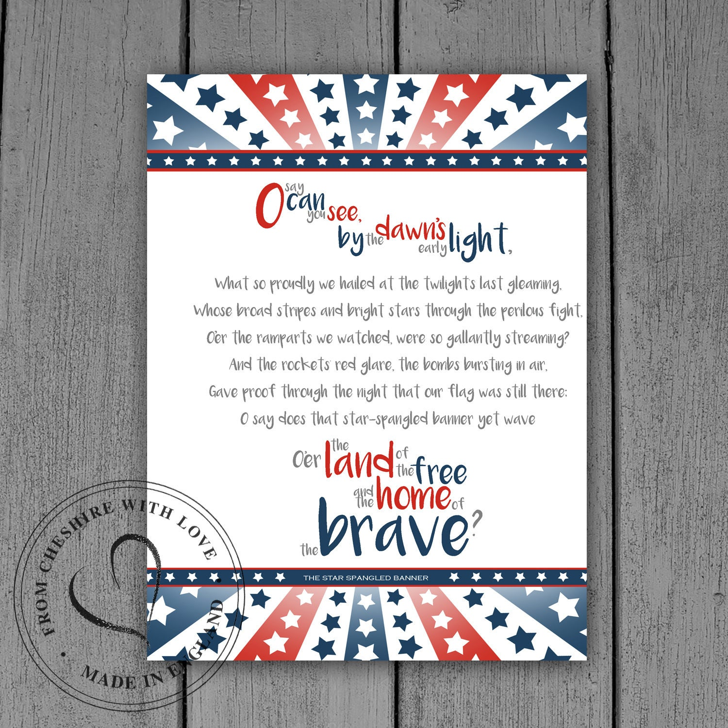It is a photo of Rare Star Spangled Banner Lyrics Printable