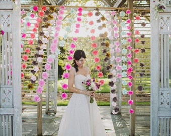 Handmade Tissue Paper Flower Hanging Garland, Photo Booth Backdrop, Wedding Ceremony Backdrop, Decorative Wall Hanging
