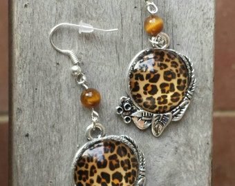 Leopard Spot Earrings with Tiger Eye, Animal Print Earrings, Safari Earrings, African Earrings, Gemstone Jewelry, Very Unique!