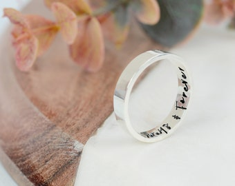 Women's Sterling Silver Personalised Ring | Silver Handstamped Message Ring | Handmade Secret Message Sterling Silver Ring | Gifts for her