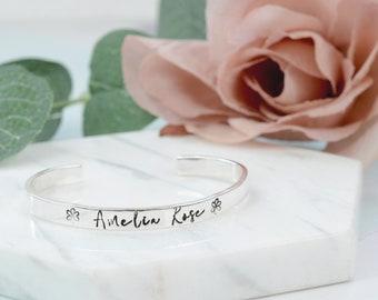 Sterling Silver Baby Bracelet | Handmade Silver Adjustable Bracelet | Custom Hand-stamped Christening Bracelet | New Baby Gift