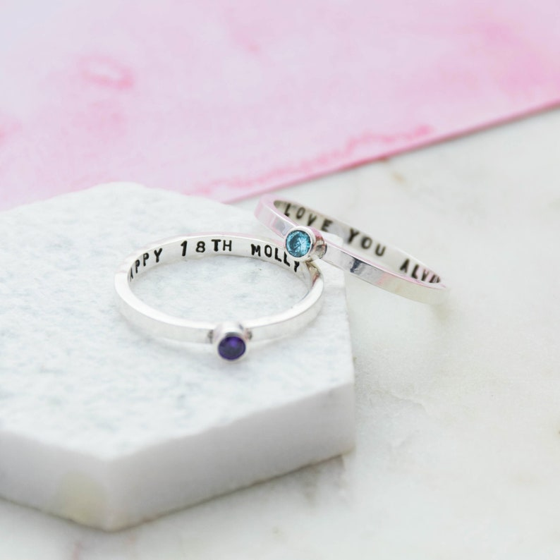 Silver Secret Message Birthstone Ring Sterling Silver Personalised Cubic Zirconia Ring Gift for her Skinny Silver Birthstone Ring