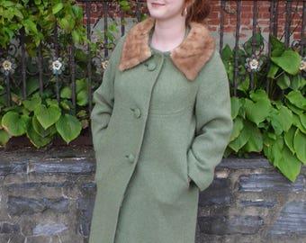 60s Style Fur Collar Pea Coat