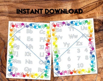 File Folder Game, Tracing Alphabet and Number Activity, Preschool, Kindergarten, Laminated, Travel Activity