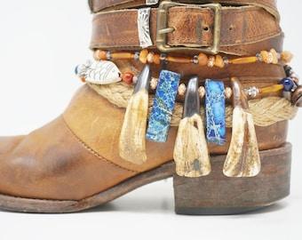 Jasper Stone and Buffalo Teeth Beaded Boot Bracelet