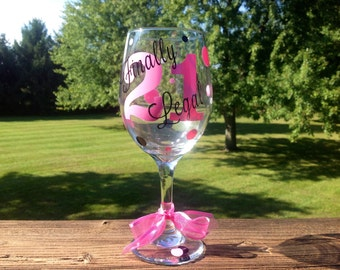 Finally Legal 21 Birthday Wine Glass - Choose your colors!