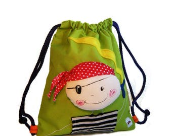 Waterproof swim bag,Pirate Swim Bag, Kids Drawstring Backpack,childrens swimming bag, Kids Sports and swimming bag, Pre-school nursery bag