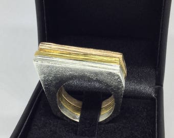 Geometric Ring, 18K Gold Plated Ring, Sterling Silver 925‰ Ring, Modern Ring