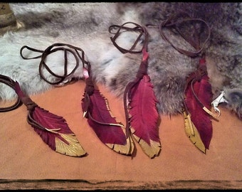 Eagle Feather Necklace Garnet and Gold